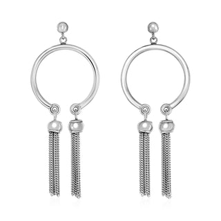 Polished Circular Earrings with Tassels in Sterling Silver
