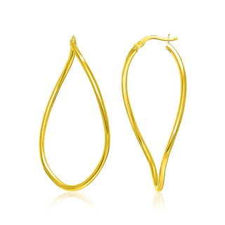 14k Yellow Gold Oval Twisted Hoop Earrings