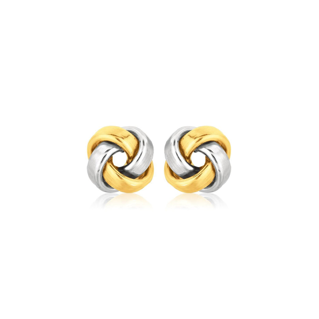 14k Two Tone Gold Square Love Knot Stud Earrings