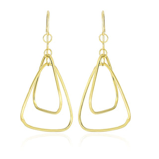 14k Yellow Gold Rounded Triangle Tube Design Drop Earrings