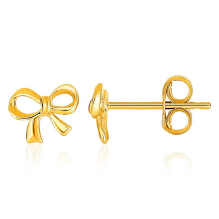 14k Yellow Gold Bow Style Post Earrings