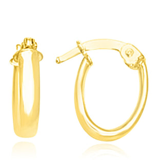 14k Yellow Gold Tube Style Hoop Earrings