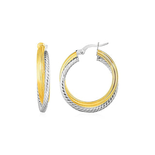 Two Part Textured and Shiny Hoop Earrings in 14k Yellow and White Gold