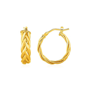 Shiny Braided Hoop Earrings in 14k Yellow Gold