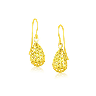 14k Yellow Gold Teardrop Drop Earrings with Honeycomb Texture