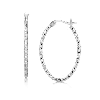 Sterling Silver Rhodium Plated Textured Diamond Cut Classic Hoop Earrings