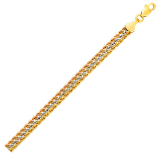 Tri-Toned Multi-Strand Rope Chain Bracelet in 10k Yellow,  White,  and Rose Gold