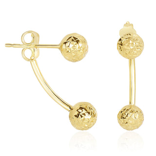 14k Yellow Gold Double Sided Diamond Cut Ball Earrings