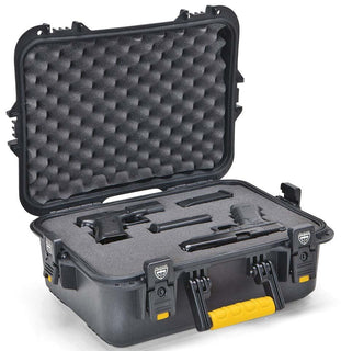 Plano All Weather Pistol-accessories Case Large Black W-yellow Latches-handle