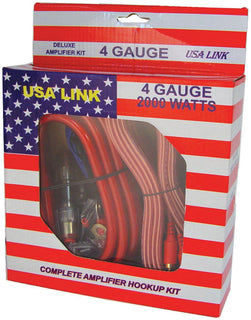 *usa Link* 4g. Amp Wiring Kit W-rca Cables; Qpower
