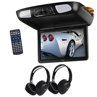 "Boss 10.1"" Overhead Monitor Dvd Ir-fm Transmitters Headphones"