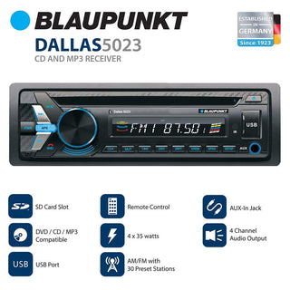Blaupunkt Head Unit Am-fm-cd-bt-usb-remote- Detachable Face