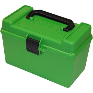 Mtm Deluxe Ammo Box 50 Round Handle 22-250 243 308 Green