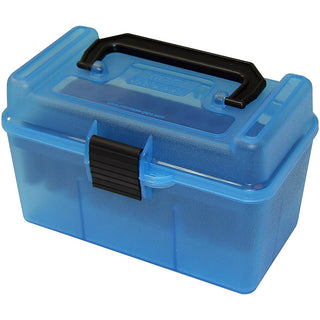 Mtm Deluxe Ammo Box 50 Round Handle 22-250 243 308 Clear Blue