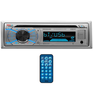Boss Marine Single Din Receiver Cd-mp3-usb-sd Front Aux Remotesilver