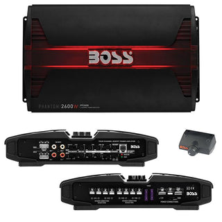 Boss Phantom 2600 Watts 4 Channel Power Amplifier Remote Subwoofer Level Control