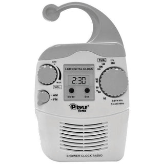 Pyle Hanging Waterproof Am-fm Shower Clock Radio