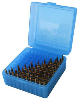 Mtm Ammo Box 100 Round Flip-top 223 204 Ruger 6x47 Clear Blue