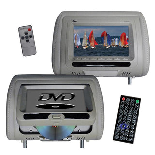 "Tview 7"" In Headrest Monitor With Dvd Player Built In Speakers Remote Gray"