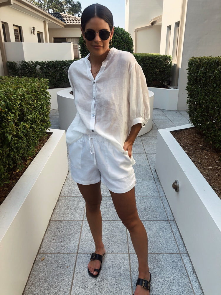 THE ZIGGY LINEN SHORTS WHITE