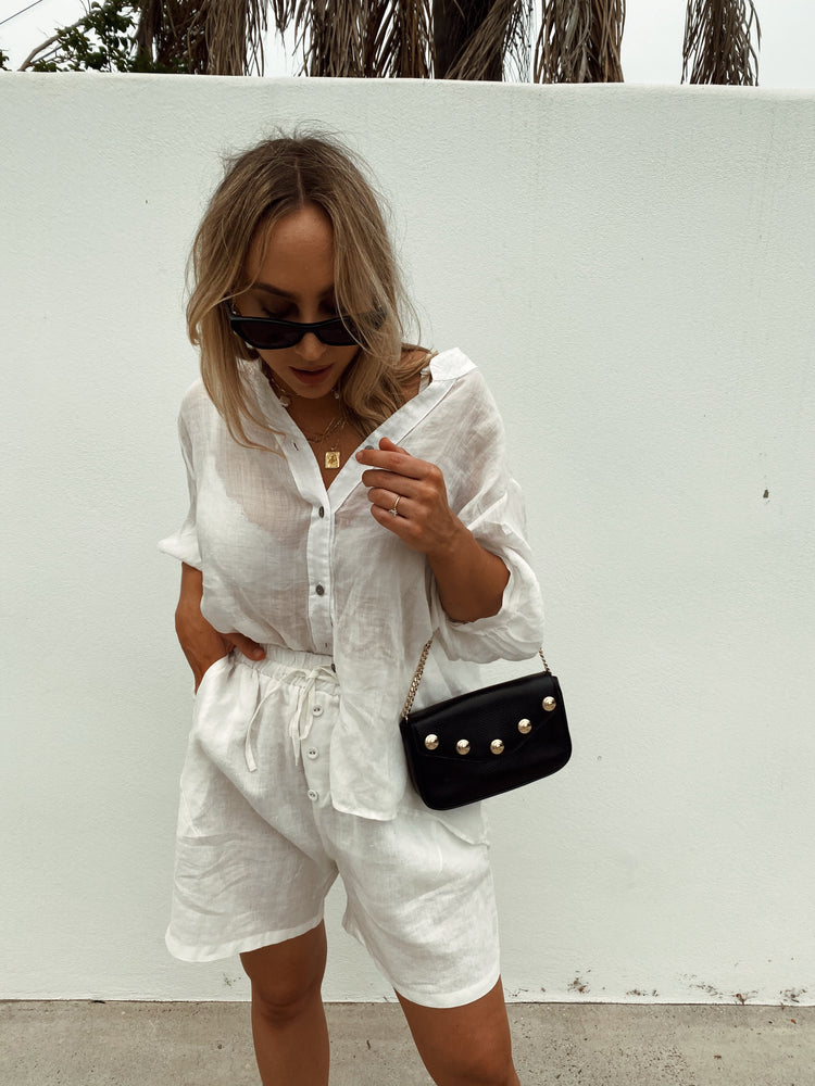 WHITE MIA LINEN SHORTS