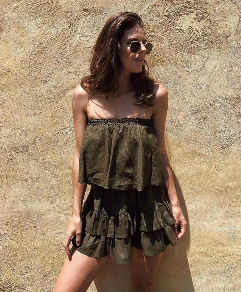 BABY DOLL FRILL TOP KHAKI