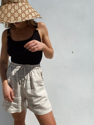 NATURAL MIA LINEN SHORTS