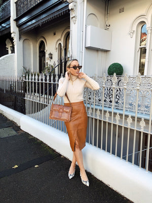 TAN MIDI LEATHER SKIRT