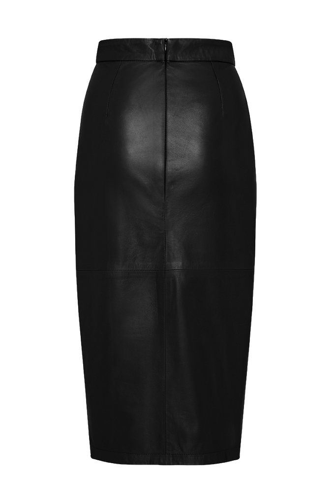 BLACK MIDI LEATHER SKIRT