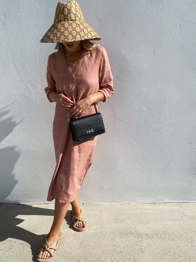 AMALFI LINEN DRESS BLUSH