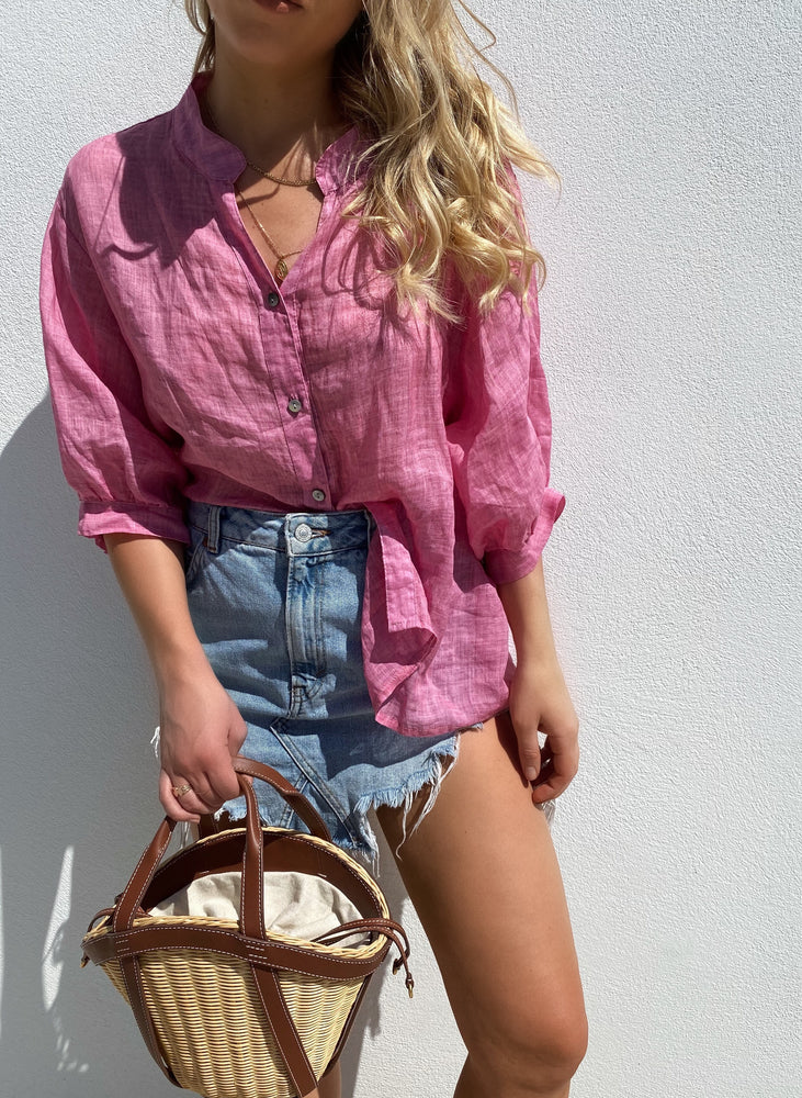THE PINK STEVIE LINEN SHIRT