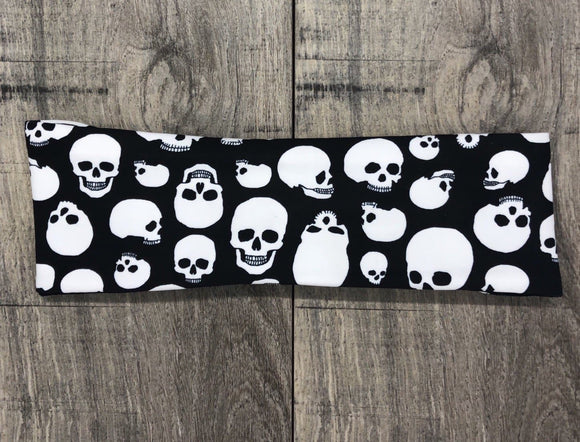 Black and White Skull Workout Headband - GreecieGirl Fitness Apparel