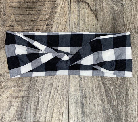Black and Cream Striped Jersey Headband - Athena Fitness Collections