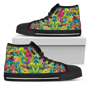 Rainbow Floral Trippy High Top Sneaker Shoes -Music Festival Essentials-1StopFestyShop.com