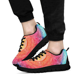 Black Mandala Rainbow Unisex Sneaker Shoes -Music Festival Essentials-1StopFestyShop.com