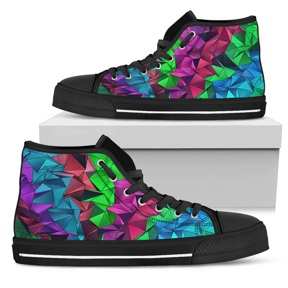 Rainbow Pattern High Top Festival Sneaker Shoes -Music Festival Essentials-1StopFestyShop.com