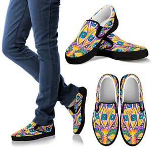 Peacock Eye Women's Slip On Shoes -Music Festival Essentials-1StopFestyShop.com
