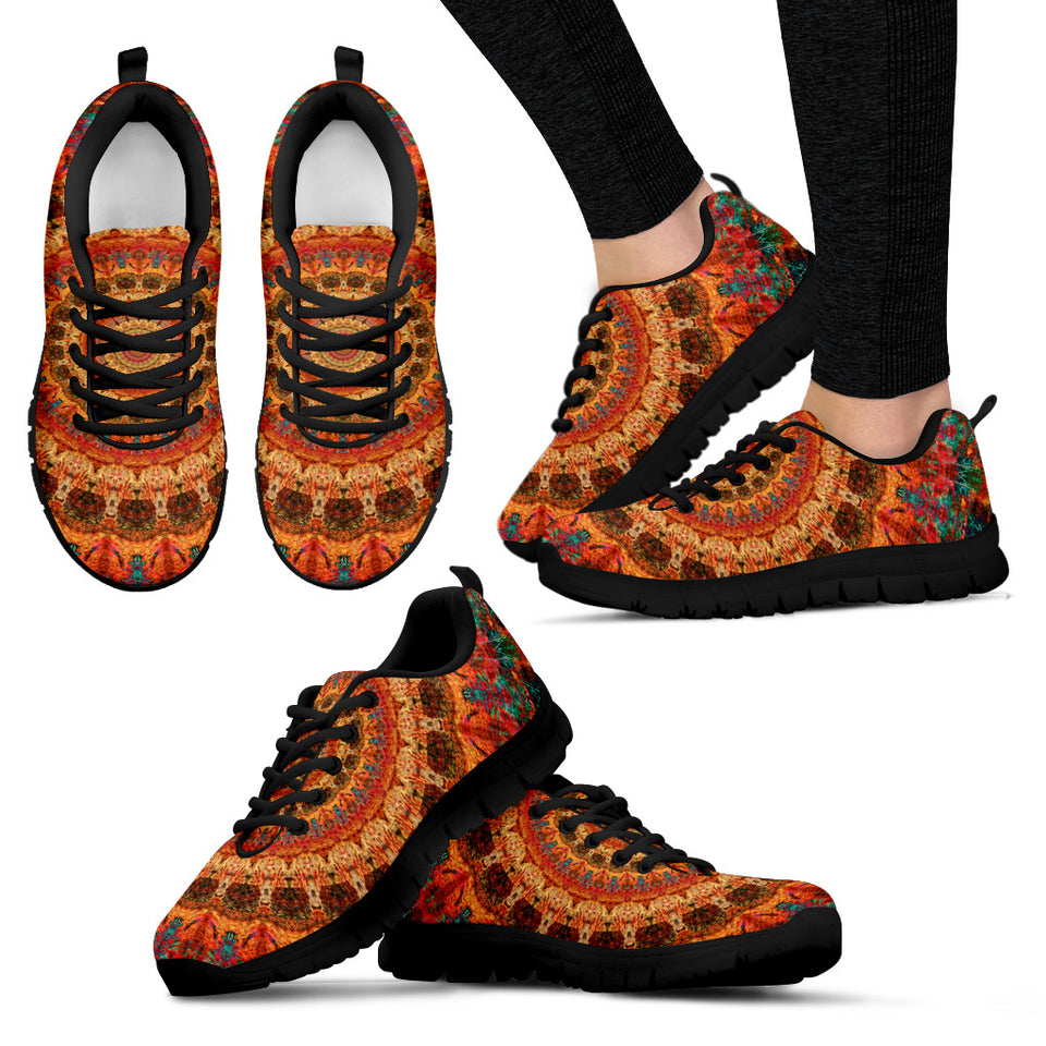 Orange Mandala Festival Sneaker Shoes -Music Festival Essentials-1StopFestyShop.com
