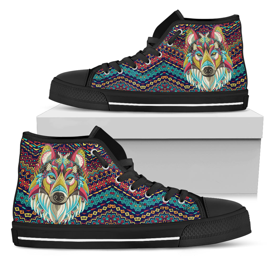 Wolf Face High Top Festival Sneaker Shoes -Music Festival Essentials-1StopFestyShop.com