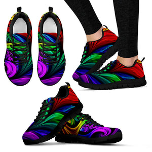 Colorful Fractal Unisex Festival Sneaker Shoes -Music Festival Essentials-1StopFestyShop.com