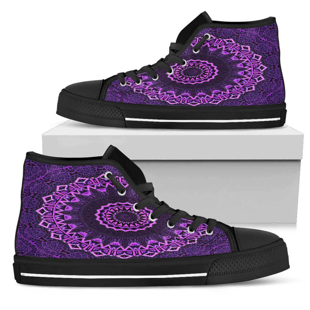 Purple Mandala High Top Festival Sneaker Shoes -Music Festival Essentials-1StopFestyShop.com