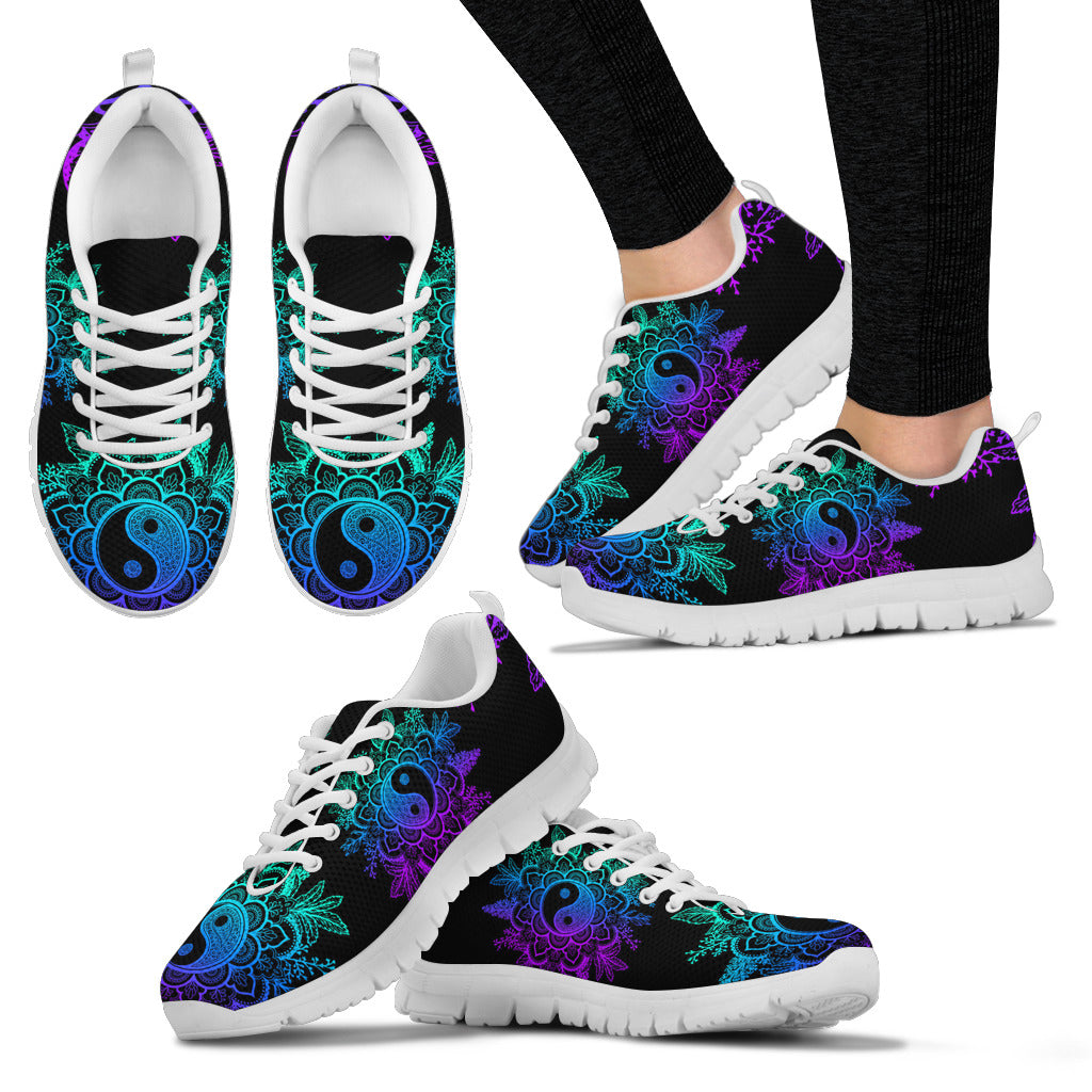 Ying Yang Lotus Flower Sneaker Shoes -Music Festival Essentials-1StopFestyShop.com