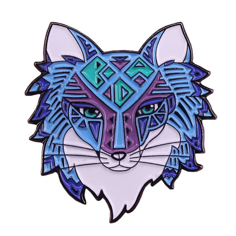 Arcane wolf head enamel pin celestial witchy brooch blue art badge animal jewelry shirts jackets accessory -Music Festival Essentials-1StopFestyShop.com