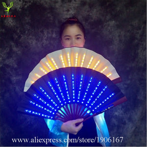 Colorful Led Luminous Folding Fan Led Light Up Stage Performance Props Music Festival Party Event Led Illuminated Fan -Music Festival Essentials-1StopFestyShop.com