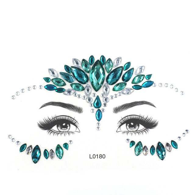 Eye Glitter Temporary Tattoo Stickers Body Face Jewels Gems Music Festival Party Makeup Tatoo Face Crystal Stickers For Woman -Music Festival Essentials-1StopFestyShop.com