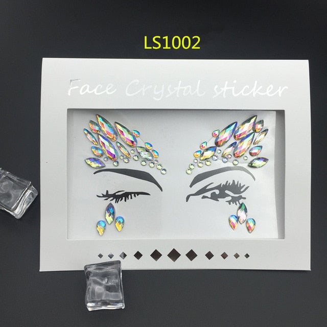 1Stop Festy Supply Shop  Face Jewels Sticker Rhinestone Fake Tattoo Stickers Body Glitter Tattoos Gems Flash For Music Festival Party Makeup