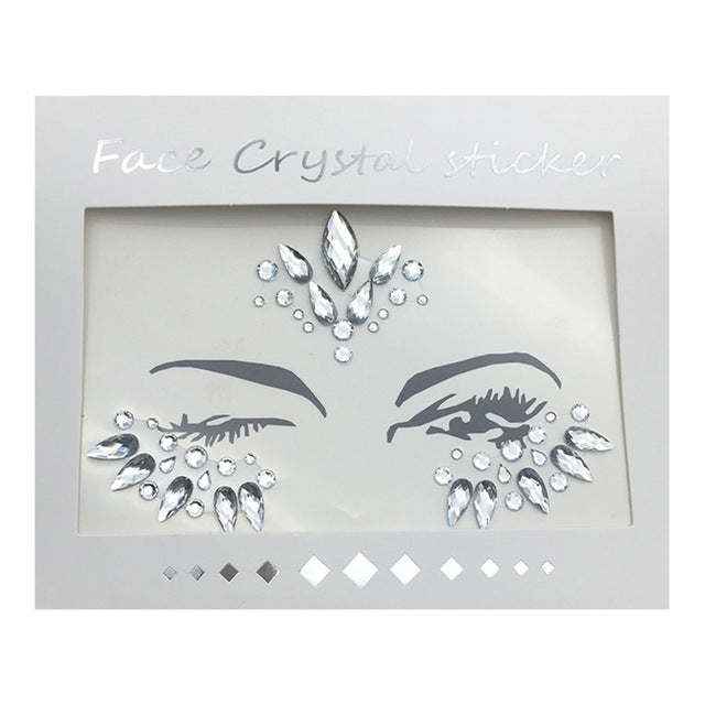 Face Jewels Sticker Rhinestone Fake Tattoo Stickers Body Glitter Tattoos Gems Flash For Music Festival Party Makeup -Music Festival Essentials-1StopFestyShop.com