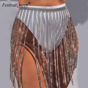 Glitter Rhinestone Long Tassel Skirts Gold Silver Crystal Diamonds Loose Adjustable Sexy Women Summer Beach Bikini Mini Skirt -Music Festival Essentials-1StopFestyShop.com