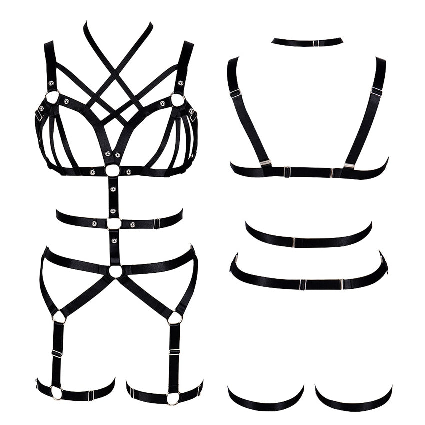 1Stop Festy Supply Shop  Goth Harness Bra for Women Black Body Caged Tops Hollow Out Garter Belt Sexy Lingerie Set Elastic Adjust Punk Dance Rave Clothes