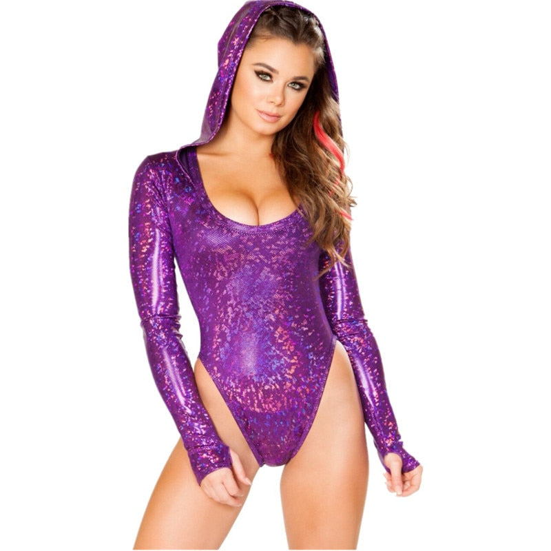 1Stop Festy Supply Shop  Holographic Bodycon Hooded Bodysuit Women's O Neck Long Sleeves Soft and breathable fabric Leotard Romper Sexy Playsuit